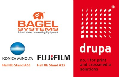 Bagel Systems invites you to touch the future on lamination at DRUPA hand-in-hand with Konica Minolta and Fujifilm